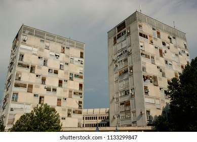 Podgorica residential buildings/Socialist utilitarian residential buildings architecture in the capital city of Montenegro, Podgorica.