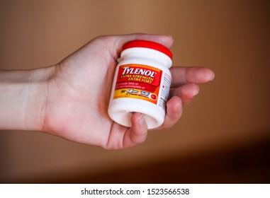 Podgorica,Montenegro, Montenegro, 10-06-2019, Tylenol extra strength extra fort 500 mg tablets Acetaminophen