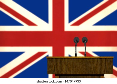 Podium and British Flag