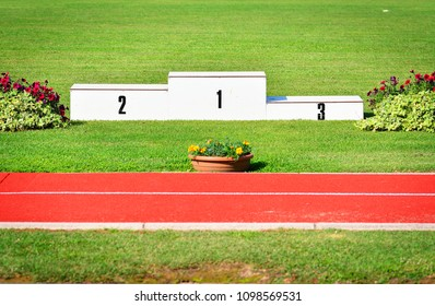 The podium of honor for an outdoor athletics competition