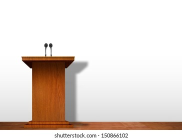 Podium on stage over white wall