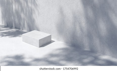 Podium for packaging presentation and cosmetic.  Product display with white concrete texture and shadow on, stone texture, Natural beauty pedestal in sunlight. realistic 3d rendering. 3d illustration.