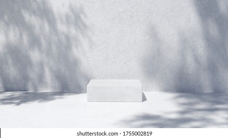 Podium for packaging presentation and cosmetic, shadow on wall.  Product display with white concrete texture , stone texture, Natural beauty pedestal in sunlight. realistic rendering. 3d illustration