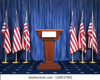 Podium speaker tribune with USA flags. Briefing of president of United states in White House. Politics concept. 3d illustration