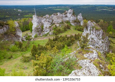 PODLESICE, POLAND - MAY 3, 2019: Mount Zborow, also known as Mount Berkow an extremely picturesque hill, popular tourist destination in the heartland of the Krakow Czestochowa Upland.