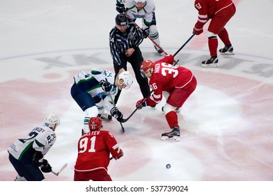 PODOLSK, RUSSIA - DECEMBER 4, 2016: K. Panov (26) and A. Nikulin (36) on faceoff on hockey game Vityaz vs Ugra on Russia KHL championship on December 4, 2016, in Podolsk, Russia. Ugra won 3:2