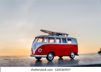 Podolsk, Russia - June 12 2018: bright photo of a toy Volksvagen T1 at sunset