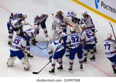 PODOLSK, RUSSIA - NOVEMBER 11, 2016: SKA team get ready to play just before hockey game Vityaz vs SKA on Russia KHL championship on November 11, 2016, in Podolsk, Russia. SKA won 4:0