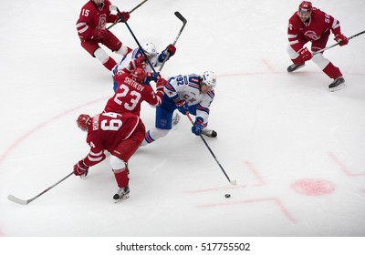 PODOLSK, RUSSIA - NOVEMBER 11, 2016: D. Shitikov (23) vs A. Dergachyov (92) on hockey game Vityaz vs SKA on Russia KHL championship on November 11, 2016, in Podolsk, Russia. SKA won 4:0