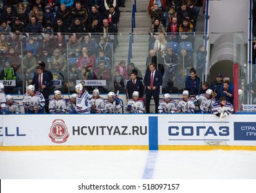 PODOLSK, RUSSIA - NOVEMBER 11, 2016: SKA team on a bench on hockey game Vityaz vs SKA on Russia KHL championship on November 11, 2016, in Podolsk, Russia. SKA won 4:0