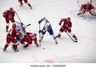 PODOLSK, RUSSIA - NOVEMBER 11, 2016: A. Dergachyov (92) in action on hockey game Vityaz vs SKA on Russia KHL championship on November 11, 2016, in Podolsk, Russia. SKA won 4:0