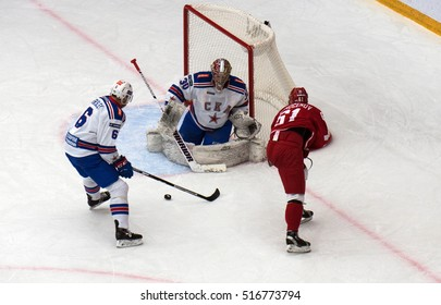 PODOLSK, RUSSIA - NOVEMBER 30, 2016: M. Afinogenov (61) attack on hockey game Vityaz vs SKA on Russia KHL championship on November 11, 2016, in Podolsk, Russia. SKA won 4:0