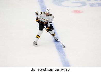 PODOLSK, RUSSIA - OCTOBER 16, 2018: V. Malevich (75) dribble on hockey game Vityaz vs Severstal on Russia KHL championship on October 16, 2018, in Podolsk, Russia. Vityaz won 4:1