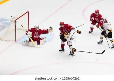 PODOLSK, RUSSIA - OCTOBER 16, 2018: J. Ortio (31) catch a puck in trapper on hockey game Vityaz vs Severstal on Russia KHL championship on October 16, 2018, in Podolsk, Russia. Vityaz won 4:1