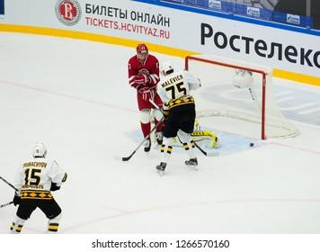 PODOLSK, RUSSIA - OCTOBER 16, 2018: V. Malevich (75) defend the gate on hockey game Vityaz vs Severstal on Russia KHL championship on October 16, 2018, in Podolsk, Russia. Vityaz won 4:1