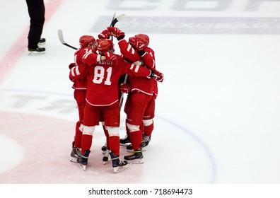 PODOLSK, RUSSIA - SEPTEMBER 10, 2017: Vityaz team rejoice of a score on hockey game Vityaz vs Barys on 10th Russia KHL championship on September 10, 2017, in Podolsk, Russia. Barys won 5:1