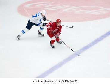 PODOLSK, RUSSIA - SEPTEMBER 10, 2017: A. Makeyev (91) and M. Frattin (57) in action on hockey game Vityaz vs Barys on 10th Russia KHL championship, in Podolsk, Russia. Vityaz won 5:1
