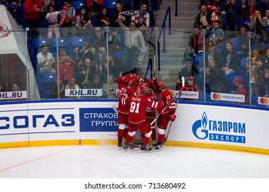 PODOLSK, RUSSIA - SEPTEMBER 3, 2017: Vityaz team rejoice of a score on hockey game Vityaz vs Avangard on 10th Russia KHL championship on September 3, 2017, in Podolsk, Russia. Vityaz won 6:2