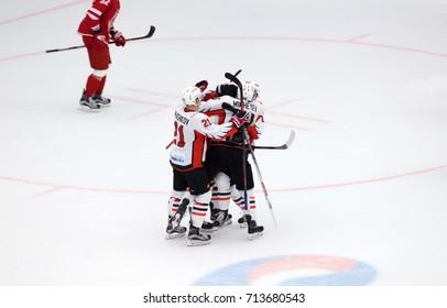 PODOLSK, RUSSIA - SEPTEMBER 3, 2017: Avangard team rejoice of a score on hockey game Vityaz vs Avangard on 10th Russia KHL championship on September 3, 2017, in Podolsk, Russia. Vityaz won 6:2