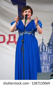 PODOLSK, RUSSIA - SEPTEMBER 9, 2018: Natalya Korostelyova sing a song on Day of the Moscow city event. Event in Znamya Oktyabrya district on September 9, 2018