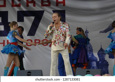 PODOLSK, RUSSIA - SEPTEMBER 9, 2018: Vladimir Devyatov on a scene during Day of the Moscow city event. Event in Znamya Oktyabrya district on September 9, 2018