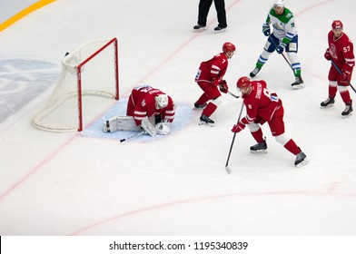 PODOLSK - SEPTEMBER 28, 2018: A. Samonov (99) catch a puck on hockey game Vityaz vs Salawat Yulayev on Russia KHL championship on September 28, 2018, in Podolsk, Russia. Vityaz won 3:2