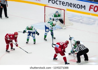 PODOLSK - SEPTEMBER 28, 2018: V. Osnovin (7) and A. Nikulin (36) on face-off on hockey game Vityaz vs Salawat Yulayev on Russia KHL championship in Podolsk, Russia. Vityaz won 3:2