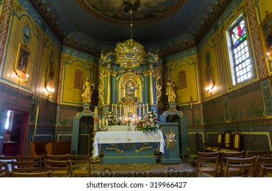 PODSTOLICE, CRACOW, POLAND - JUNE 30, 2015: Interior of the wooden antique church in Podstolice near Cracow. Poland