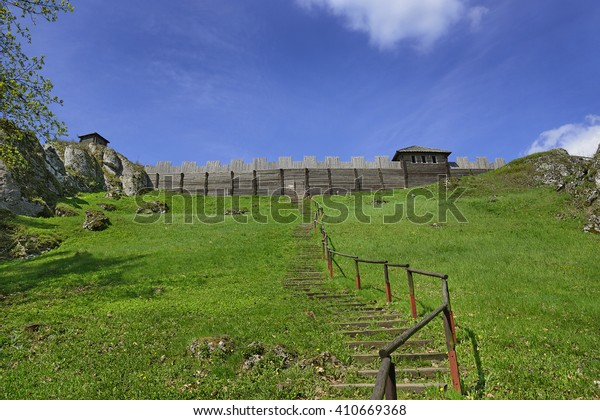 PODZAMCZE, POLAND - APRIL 22, 2016: Reconstruction of the Royal Castle on the Mount Birow near Ogrodzieniec. It belongs to castles end fortresses: Eagles' Nests Trail near Krakow