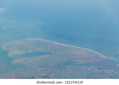 Poel Island located in Baltic sea in the Bay of Wismar and is part of Germany - aerial view
