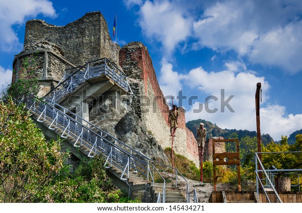 Poenari Fortress is Vlad Tepes castle, prince of medieval Wallachia, modern Romania