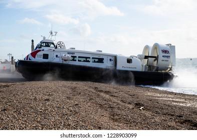 Poersmouth, Hampshire, UK November 13 2018 Hovertravel Hovercraft Island Flyer arriving from Ryde, Isle of Wight