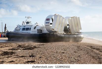 Poersmouth, Hampshire, UK November 13 2018 Hovertravel Hovercraft Island Flyer leaving for Ryde, Isle of Wight