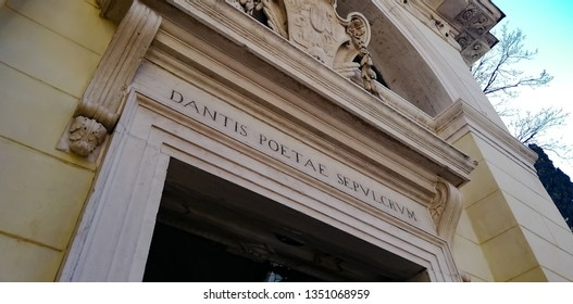 """Sepulcher of the poet Dante"". Pediment of the chapel which houses Dante Alighieri's bones in Ravenna, Italy"