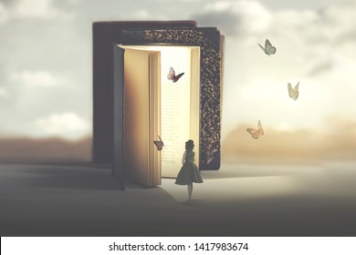 poetic encounter between a woman and butterflies coming out of a book