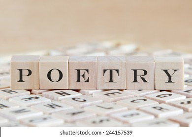 poetry word on wood blocks