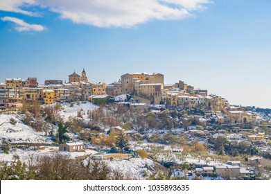 Poggio Mirteto (Italy) - The historic center of a little city in province of Rieti, beside Rome capital, under the exceptional snowfall of February 2018