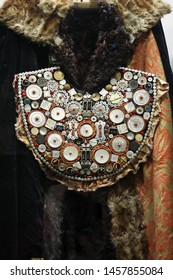 Pogo - chest decoration matchmaker. An exhibit of the Krasnoyarsk Regional Museum. Russia, Krasnoyarsk, June 4, 2017