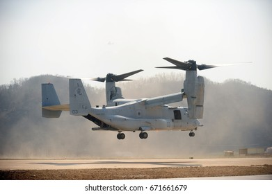 Pohang, South Korea - March 31, 2014, This is a ROK-US combined training flight of a U.S. Marine Corps MV-22 Osprey.