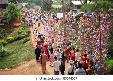 Poi Sang Long parade, festival in Mae Hong Son, north of thailand.