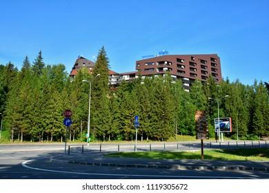 POIANA BRASOV, BRASOV - MAY 2018. Hotel Alpin in Poiana Brasov ,neighborhood of Brasov and a Romanian ski resort popular among tourists from many European states.