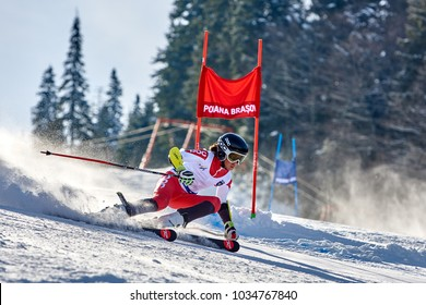 Poiana Brasov, ROMANIA -23 January 2018: Unknown skier competes in the Poiana Brasov FIS. Children Trophy 23-24 February 2018
