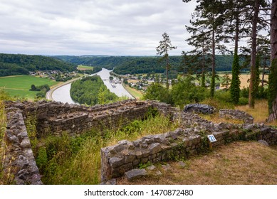 Poilvache Castle. Panorama with ruines of fortress and river Meuse in Ardennes. Poilvache Castle ruins on cliffs above riverside village Houx in Yvoir near Dinant and Namur Ardennes, Wallonia, Belgium