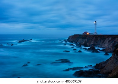 Point Arena Lighthouse in California at night