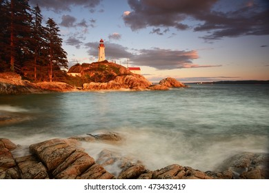 Point Atkinson Lighthouse sunset, West Vancouver, British Columbia