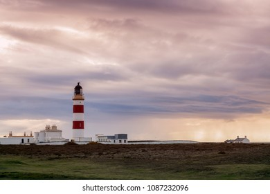 Point of Ayre Lighthouse on the Isle of Man. Isle of Man.