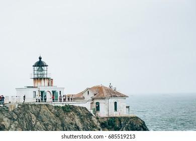 Point Bonita Lighthouse with Suspension Bridge in the fog