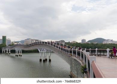 Point of interest - Drunken Bridge in Sanya City. China, 88-74 San Ya He Xi Lu, Tianya Qu, Sanya Shi, Hainan Sheng., November 8, 2017. EDITORIAL