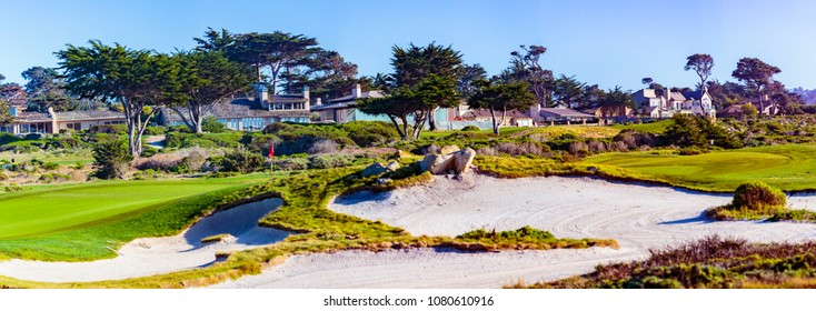 Point Joe,  Del Monte Forest, California, February 17, 2018: Golf course views of seaside links of the Monterey Peninsula Country Club, located on the 17 Mile Drive.