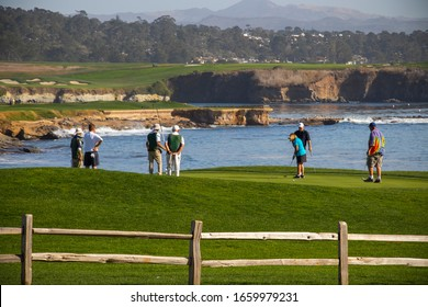 Point Joe, Del Monte Forest, California, 2020 : Golf course views of seaside links of the Monterey Peninsula Country Club located on the 17 Mile Drive, pebble beach . Famous Attraction in US.
